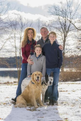 Winter Family photo with Dogs