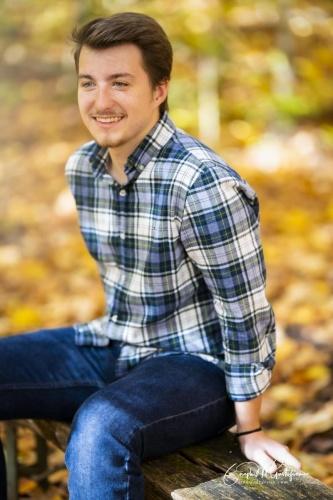Fall senior photo boy