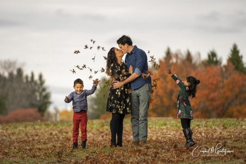 throwing leaves fall family photo